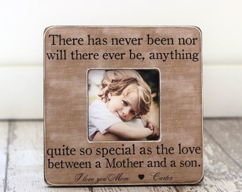 Mom Gift from Son Mother Son Personalized Picture Frame Mom of Little Boy 'Love Between a Mother and a Son' Quote