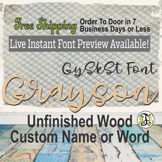 GySkSt Font Custom Name or Word Sign, Cursive, Connected, wood cut out, wood cutout, wooden, Nursery, Wedding, Birthday, name sign, Script