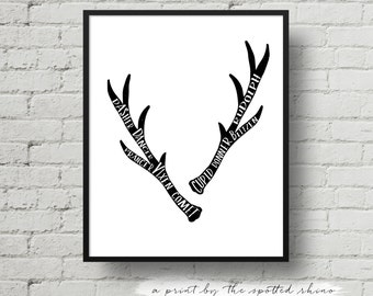 Instant Download Christmas Reindeer Antlers Print JPEG in 8x10 and 11x14.