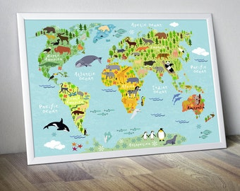 nursery world map nursery map map for kids world map for kids kids wall art kids world map kids map world map animal world map decor