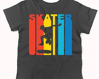 Retro 1970's Style Skater Silhouette Skateboarding Infant / Toddler T-Shirt