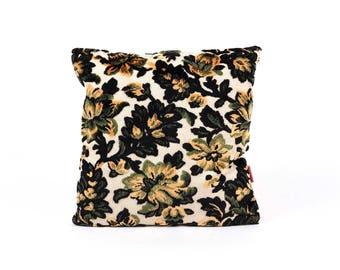 Floral Velvet Pillow 16x16, vintage fabric, designer pillow, upholstery fabric, 70s pillow, mid century home decor handmade by EllaOsix
