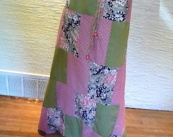 Patchwork Skirt, Long Skirt, Handmade Skirt, Pink Green Patchwork, Unique Clothing, Recycled Clothing, Drawstring Waist, Flowered Skirt,Cute