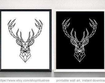 Geometric deer head, art print set, printable wall art, 8x10 digital art print, black, white, polygon, modern, minimalist, instant download
