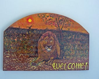 Acrylic painting on wood: welcome: Lion in the Savannah
