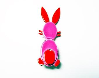 Pink & Orange Enamel Mod Bunny Rabbit Brooch Signed ART Vintage 1960's Era Pin - Mod Easter Bunny Pin!