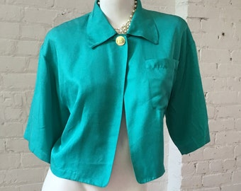 Mary Ann Restivo 1980s Teal Bolero Top with Single Gold Tone Button
