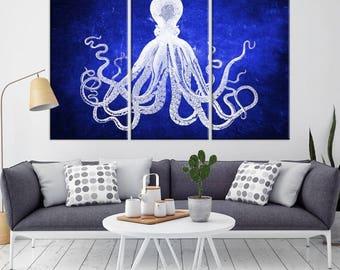Oktopus-Wand-Kunst, Oktopus-Leinwand, Octopus Posterdruck, Wand Kunst Oktopus, Tintenfisch-Wand-Dekor, Octopus Leinwand Druck, große Krake Kunst