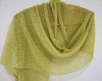 Lime green wrap/ green shawl/ green lace scarf/ green lace shawl