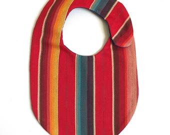 Red Serape Bib, Unisex Baby gift, Mexican Blanket Bib