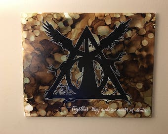 Harry Potter - Deathly Hallows - Alcohol Ink on Stretched Canvas - 16x20""