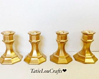 Set of 4 Candle Stick Holders,Wedding Centerpiece, Baby Shower Decor, Baptism Decor, Home Decor.