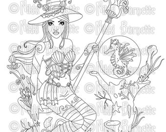 Digital Stamp - Printable Coloring Page - Fantasy Art - Witch Stamp - Adult Coloring - Alondra and Medwin - by Nikki Burnette - PERSONAL USE