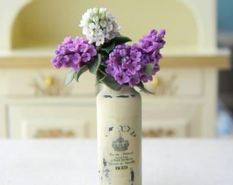 Dollhouse Miniature Bouquet, Miniature Lilac, Dollhouse Flowers, Flowers Miniature 1:12, Rustic, Provence, Country Decor, Vintage Style