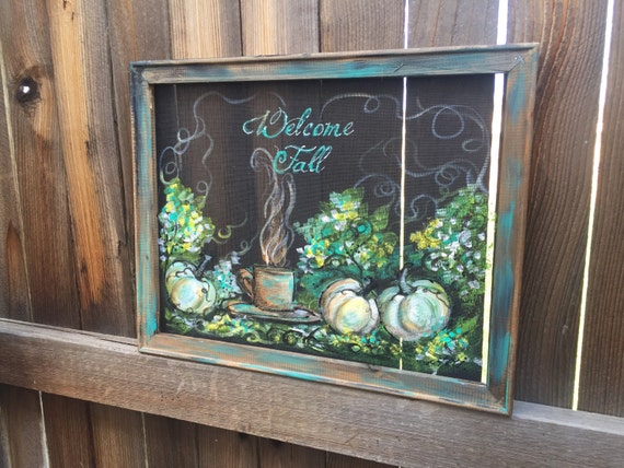 Items Similar To Welcome Fall,White Pumpkin, Teal Color