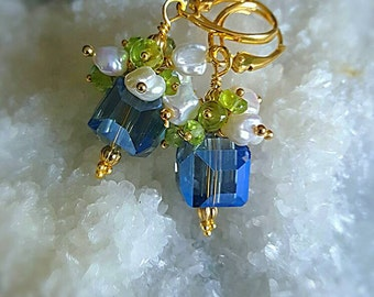 Blue Crystal Cube with Freshwater Keshi Pearls and Peridot on Gold Vermeil Leverback Earwires Petite Earrings