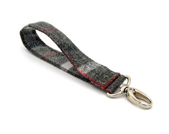 Soft Flannel Gray Wide Wrist Strap - Flannel Key Chain - Mens Wristlet Strap - Wallet Strap - Wrist Lanyard - Key Fob Strap - Ready to Ship