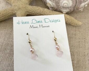 Free shipping Rose Quartz drop earrings