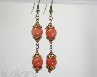 Earrings made of agate dyed bright orange and gold antiqued - romantic Collection