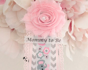 Pink Gray Elephant Baby Shower Corsage Pin with Mommy to Be, Grandma to Be, and Custom Tag Badge