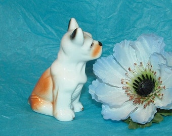 Small White,Brown, and Black Puppy Dog Boxer porcelain Figurine