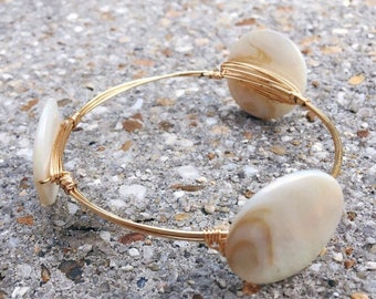 Gold Wire Wrapped Bangle with Flat Pearl Beads, Bourbon and Boweties Inspired