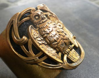 Owl Jewelry Wide Brass Cuff Bracelet