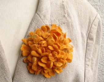 Felted flower brooch Yellow felt brooch Handmade felted Dahlia Merino wool brooch Felt jewelry Ready to ship