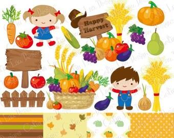 Harvest Clip art, Vegetables Digital Clip art , Farm Clip art, Cute Kids clipart , Autumn Elements, Fall clipart , Pumpkin Clipart (CG182)