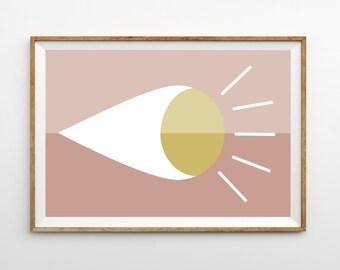 Midcentury Modern Art Print Wall Hanging | MidCentury Home Decor | Pink and White | Modern Minimalist Kids Room Wall Art Print | Nursery Art