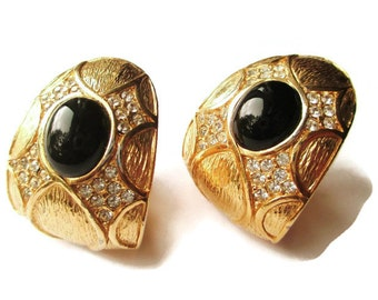 Vintage Ciner  Black Glass Cabochon Pave Clear Rhinestone Gold Tone Clip Earrings