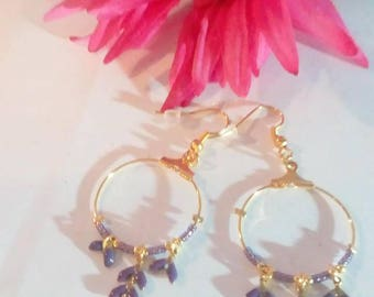 Hoop earrings with bay leaves