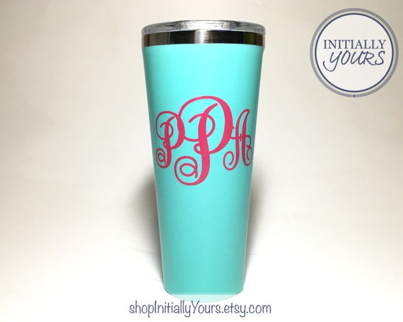 Monogram decal for corkcicle 24oz corkcicle personalized vinyl sticker corkcicle cup decal corkcicle tumbler decal monogram decal only from