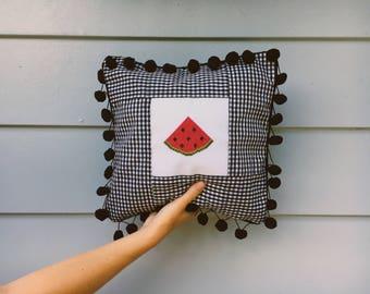 Watermelon Cross Stitch Pillow