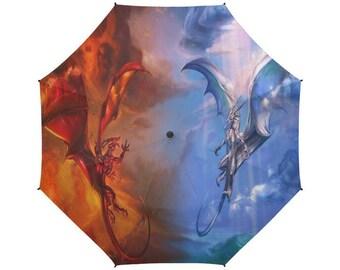 Fire and Ice Double Dragon Semi-Automatic Foldable Umbrella