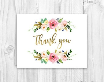 Floral thank you cards, baby shower floral thank you card, boho thank you card, thank you card, peonie thank you card, instant download