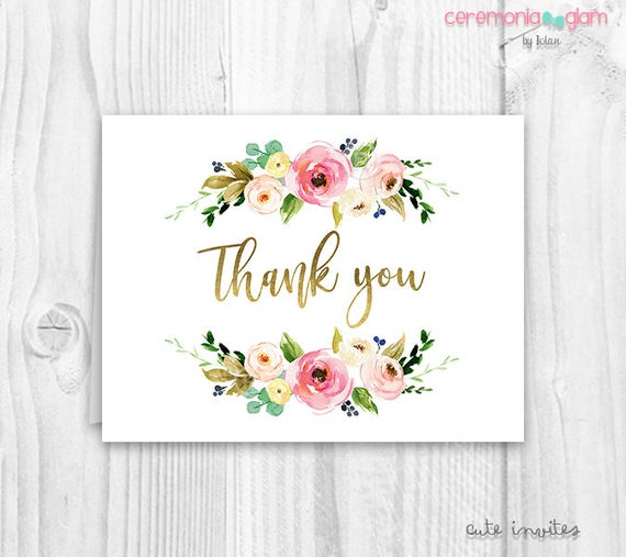 Floral Thank You Cards Baby Shower Floral Thank You Card