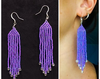 Iridescent / electric violet dangle earrings