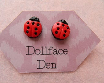 Lady love bug button earrings