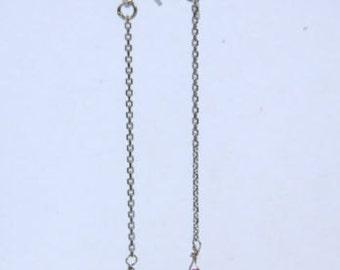 Solid 14k White Gold Siam Red Garnet Briolette Drop Earrings