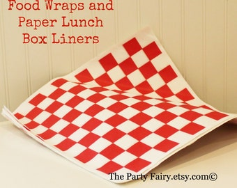 Paper Food Wraps, 25 Red Check Paper Basket Liners, Checkerboard Food Box Liner, Sandwich Wrappers, Hamburger Paper Wrap, Party Food Wrap