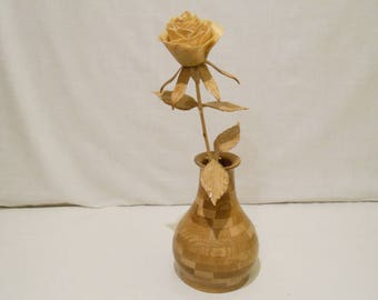 Handmade wooden rose with vase