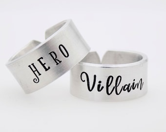 Couples matching Set, Handstamped aluminum rings, Adjustable re-sizable rings, Hero, Villain, Best friends, Couples, Valentines Anniversary