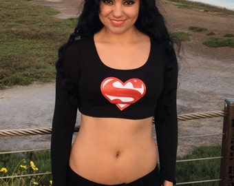 I Love Superman Black Long Sleeve Crop Top