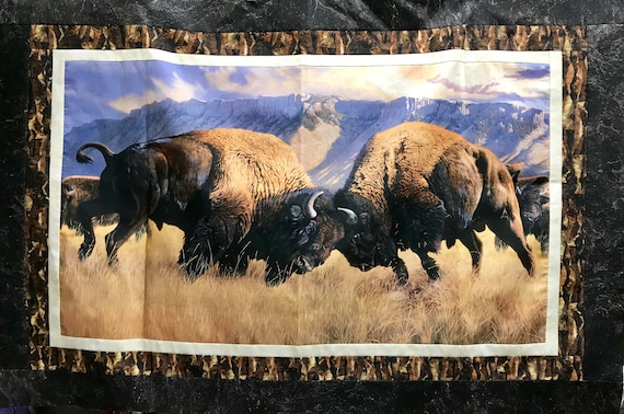 "Northcott ""When Push Comes to Shove"" Buffalo / Bison Completed Quilt Top"