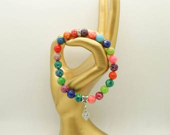 Multi- Colored Impression Jasper Bracelet- Jasper Bracelet- Women's Bracelet- Stretch Bracelet- Beaded Bracelet