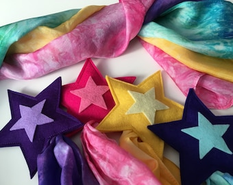 Silk and Wool Shooting Star-- merino wool with hand dyed silk streamer 48 inches long