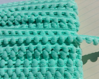 "AQUA Baby Pom Pom Trim - Sewing Crafting Baby Poms Poms - Mini Fringe - 3/8"" Wide"