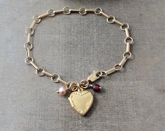 Gold Locket Bracelet, Gold Locket, Heavy Gold Chain, Charm Bracelet, Chunky Chain, Small Gold Locket, Gold Heart Locket Birthstone Bracelet