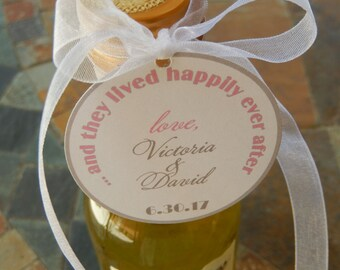 """50 - Disney Inspired custom 2"""" Wedding or Anniversary Thank You Favor Tags - for your Mini Wine, Champagne or Liquor Bottles"""